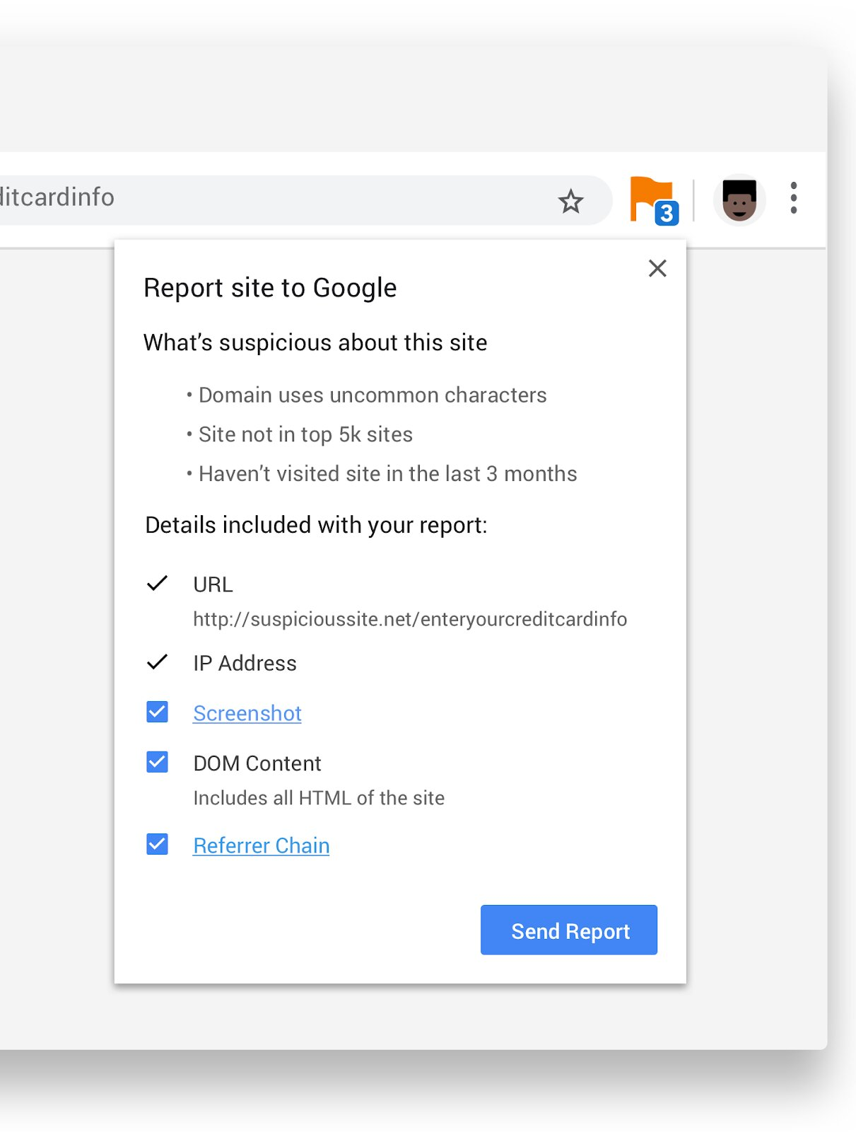 Le signalement de sites malveillants via la nouvelle extension de Chrome
