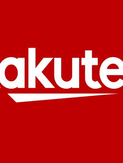 Le logo de Rakuten blanc sur fond rouge
