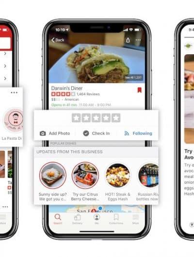 Yelp Connect : la nouvelle version de l'app.