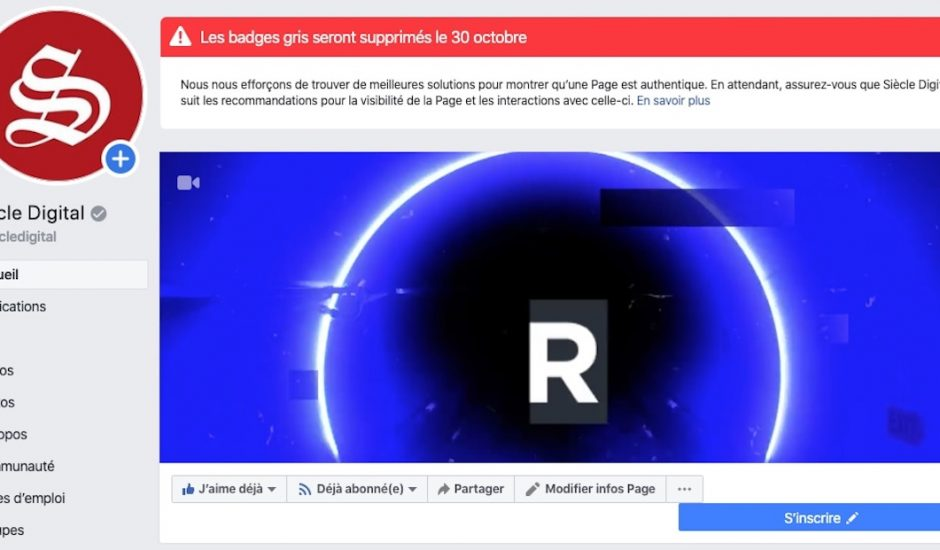 Capture d'écran du bandeau annonçant la suppression du badge gris sur la page Facebook de Siècle Digital