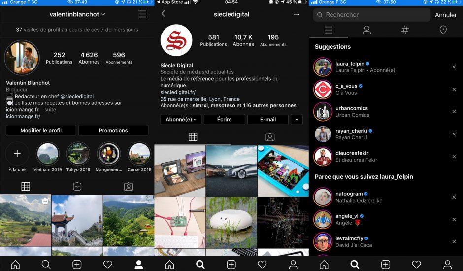 captures d'écran du mode sombre d'Instagram sur iOS 13