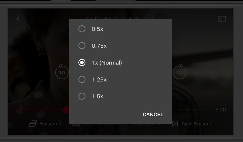 aperçu de l'écran pour accélérer ou ralentir la vitesse d'un épisode sur Netflix