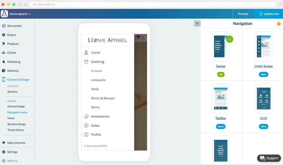 logiciel création shopping app
