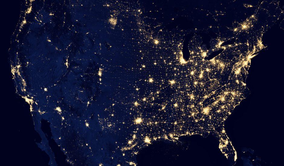 Photo prise de nuit par satellite des USA