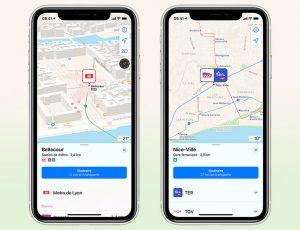 Deux smartphones affichent des itinéraires en transports en commun simulés sur Apple Plans