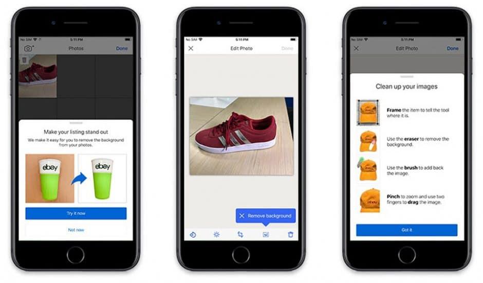 """eBay : la fonctionnalité """"Image Clean-Up"""" d'eBay sur un smartphone"""