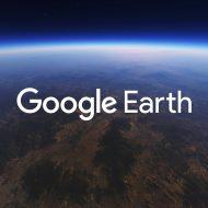 Le logo Google Earth sur une photo prise depuis l'espace