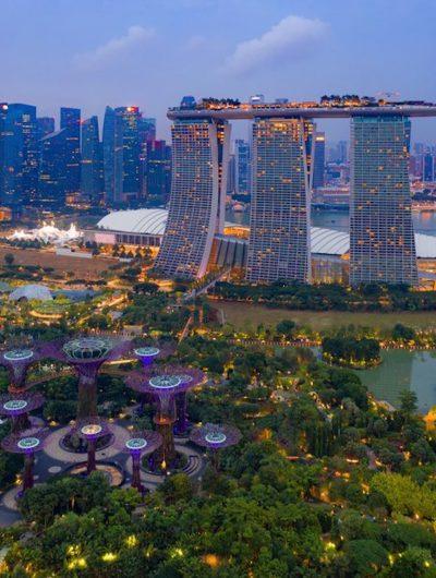 Cliché aérien du Marina Bay Sands