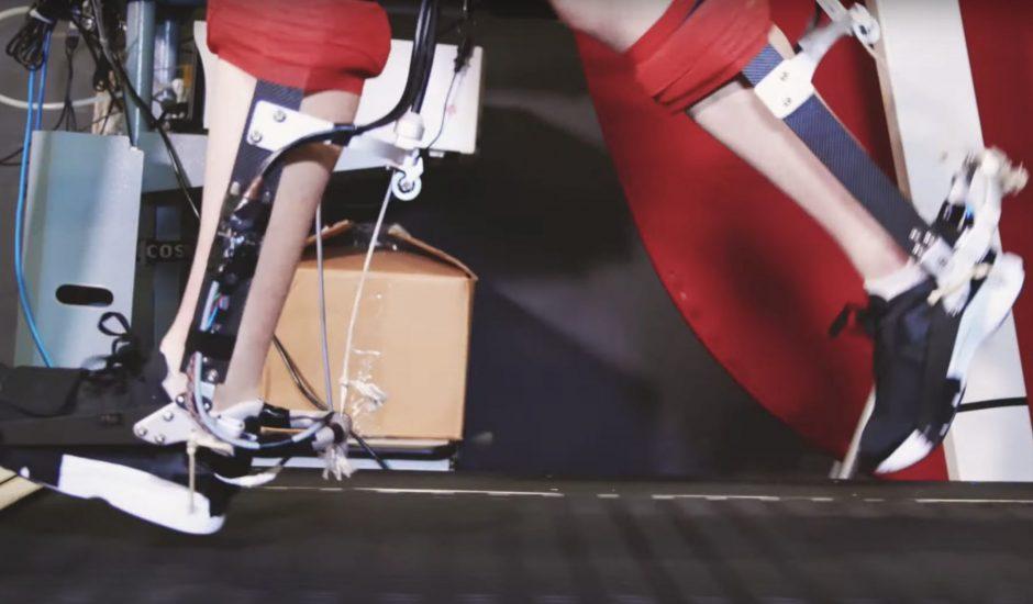 L'exosquelette entoure la cheville.