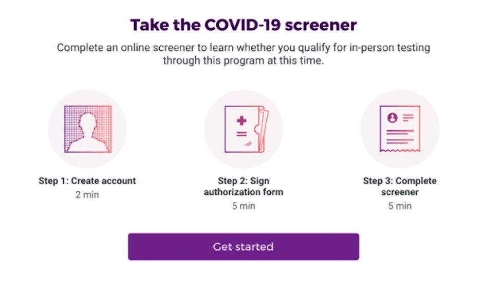 Un site dédié au dépistage du Covid-19 en Californie.