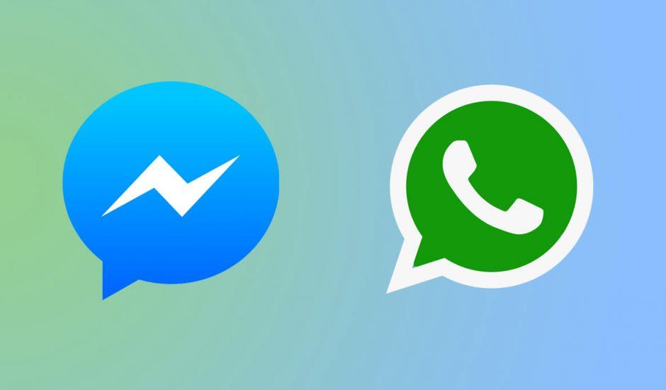 Les logos de WhatsApp et de Messenger sur fond dégradé bleu et vert.