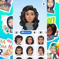 """Une multitude d'autocollants """"Facebook Avatars"""" collés sur un fond vert avec une capture d'écran de la fonctionnalité."""