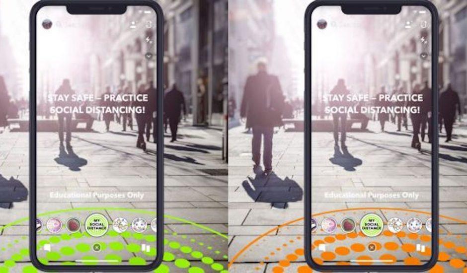 Snapchat propose des filtres pour favoriser la distanciation sociale.