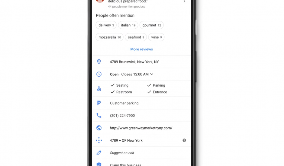 Capture d'écran présentant la mise en avant des endroits faciles d'accès pour les personnes à mobilité réduite sur Google Maps