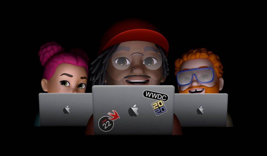 Un design d'Apple avec trois animoji qui tiennent leur Macbook pour assister à la WWDC.