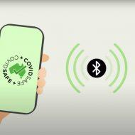 Capture d'écran d'une vidéo du gouvernement australien dans laquelle un smartphone est ouvert sur l'application Covidsafe.