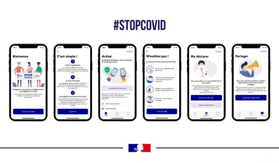 Les écrans de l'application Stopcovid