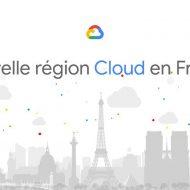 Une illustration des monuments de Paris, avec le logo Google Cloud sur fond blanc.