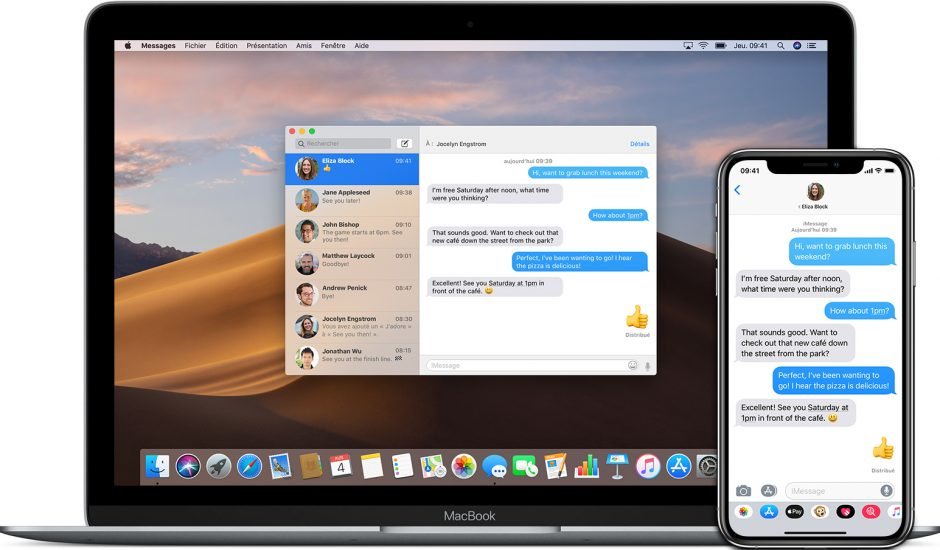 Aperçu de l'app Messages d'Apple.