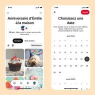 Deux captures d'écrans des notes et du calendrier Pinterest sur les tableaux.