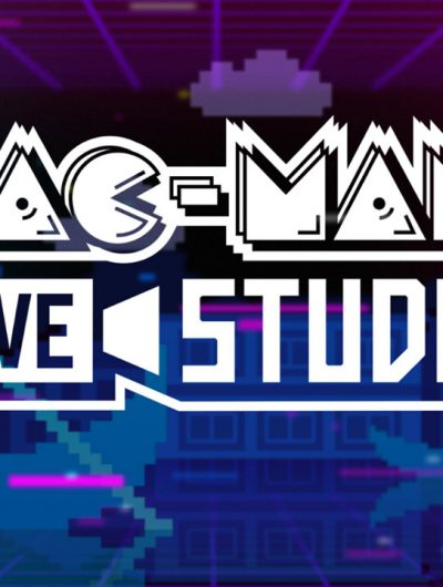 """Le logo """"Pac-Man Live Studio"""" sur un fond coloré violet et bleu."""