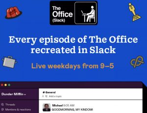 """Image de présentation du projet qui recréé la série """"The Office"""" sur Slack."""