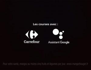 Les logos de Carrefour et de google assistant