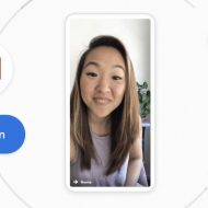 Une jeune femme en visioconférence sur Meet depuis l'application Gmail.