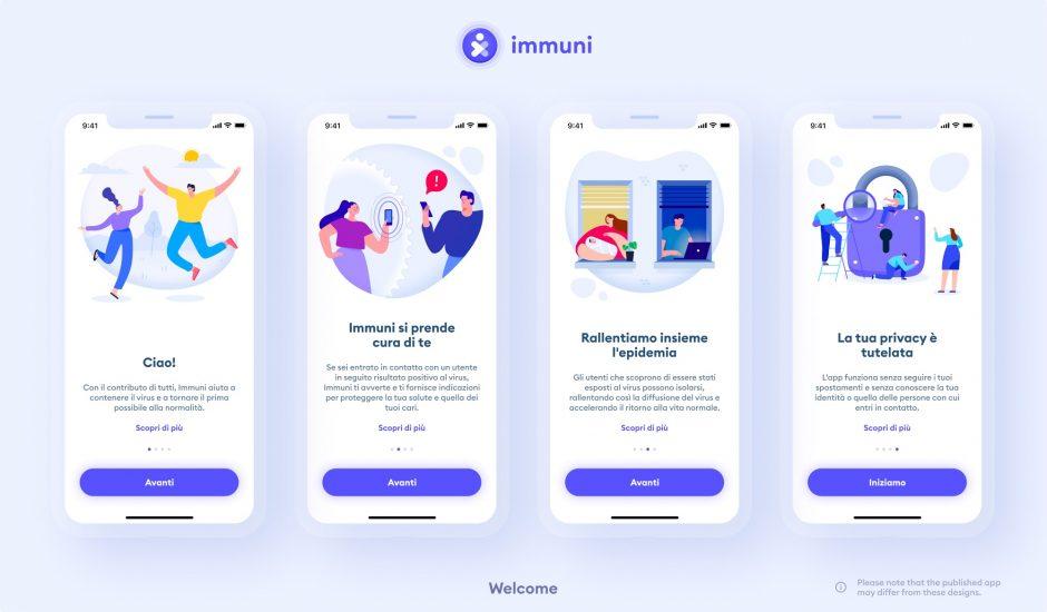 Illustration de l'application Immuni.