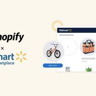 Les logos Walmart et Shopify avec une illustration de page web d'achat.