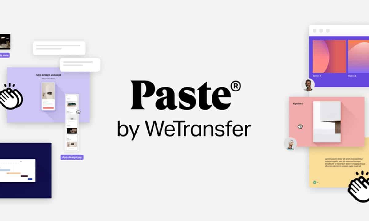 """Le logo """"Pastet by WeTransfer"""" avec des captures d'écran du logiciel."""