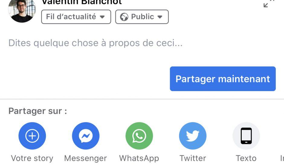 Test d'une nouvelle barre de partage sur Facebook avec un bouton dédié à Twitter