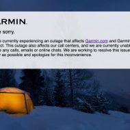 La page d'accueil de Garmin