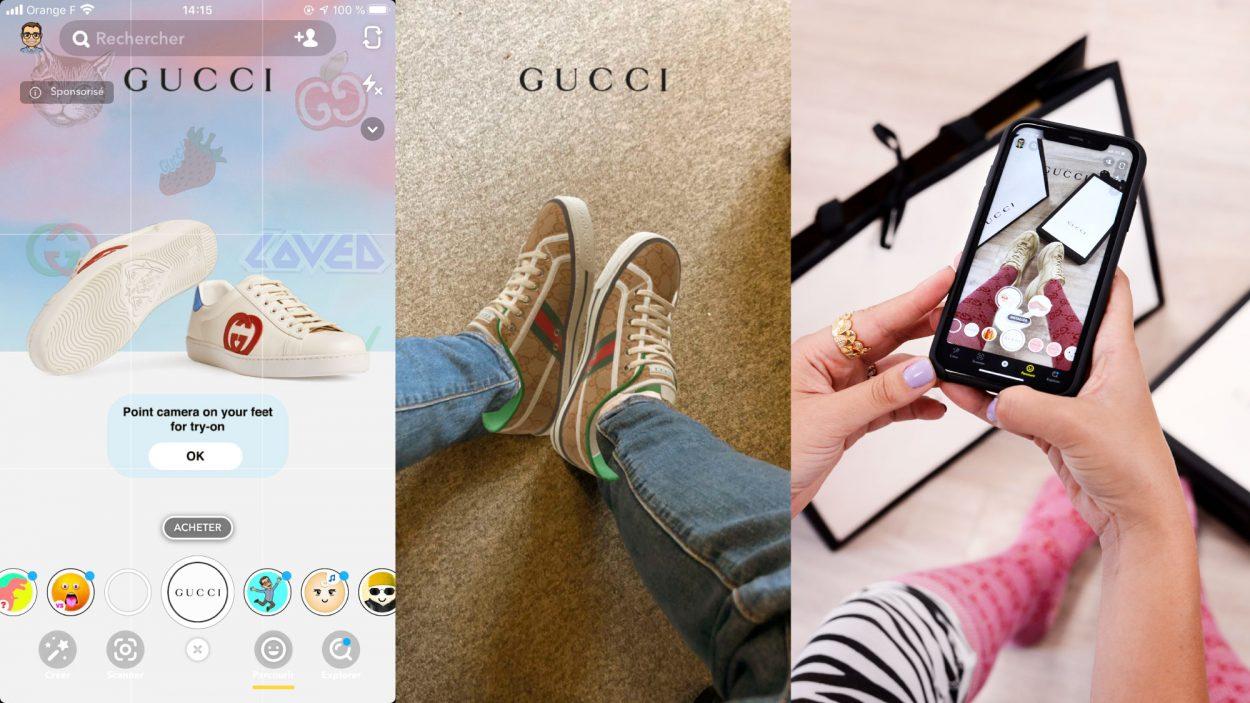 La Lens de Gucci permettant d'essayer des chaussures en réalité augmentée