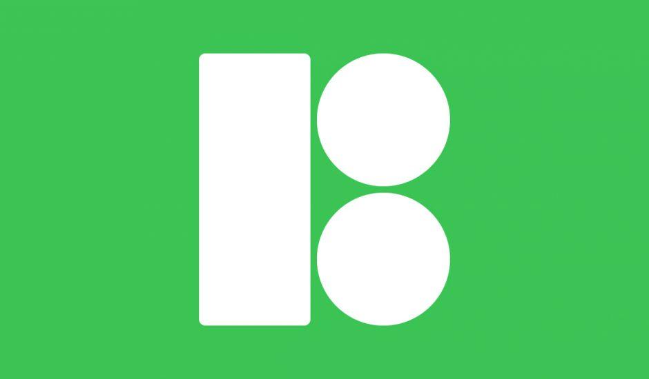 Le logo de Icons8 sur un fond vert.