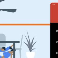Une notification prévenant d'un séisme apparaît sur un smartphone, alors les personnes vont s'abriter sous la table.