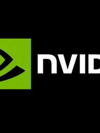 Le logo de Nvidia sur un fond noir.