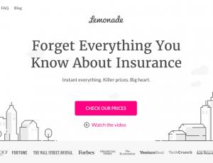 La page d'accueil de Lemonade