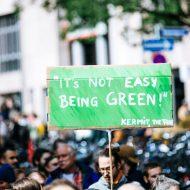 un manifestant avec une pancarte