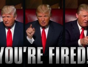 "Montage présentant Donald Trump avec le message ""you're fired"""