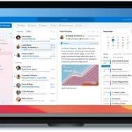 L'application Outlook ouverte sur un écran de MacBook.