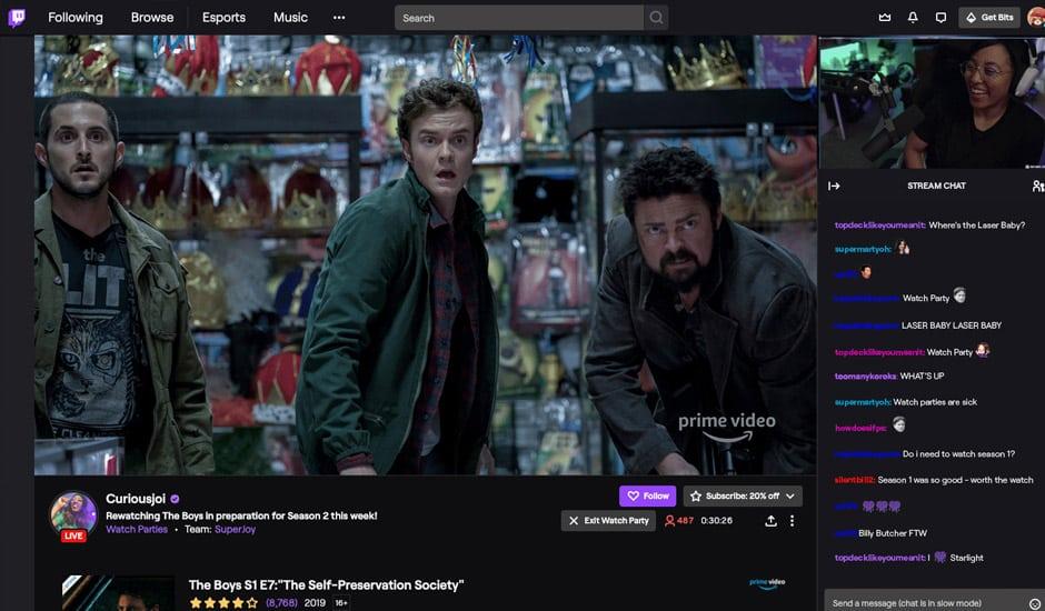 Aperçu de la fonctionnalité Watch Parties de Twitch.