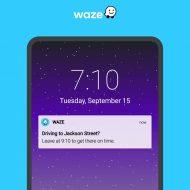 Une notification de l'application Waze sur un smartphone.