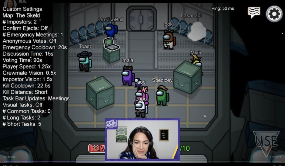 Capture de la partie du jeu Among Us effectuée par la démocrate Alexandria Ocasio-Cortez sur Twitch