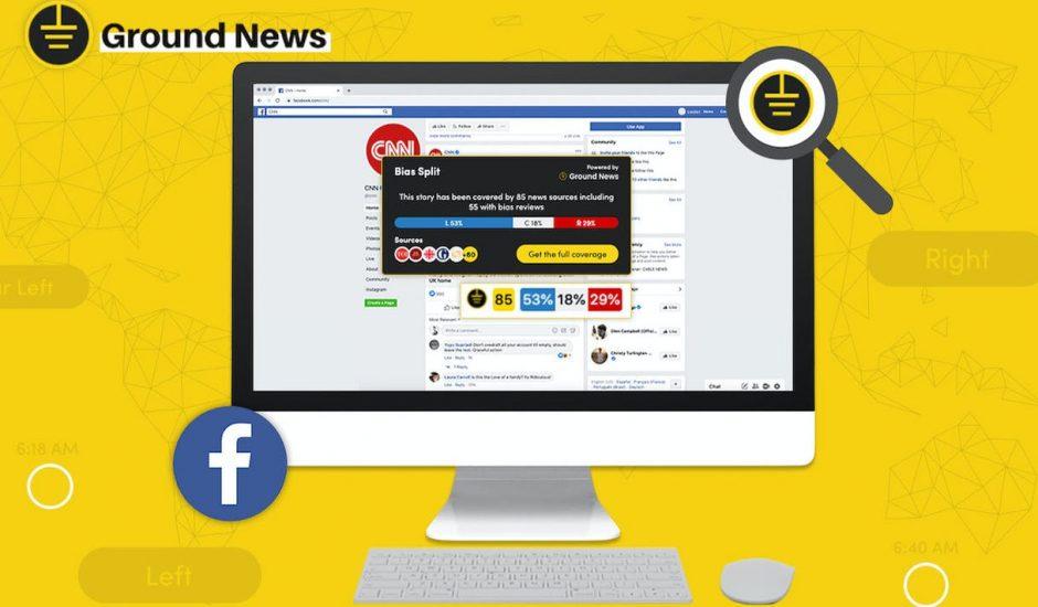 aperçu de l'extension Ground News sur Facebook