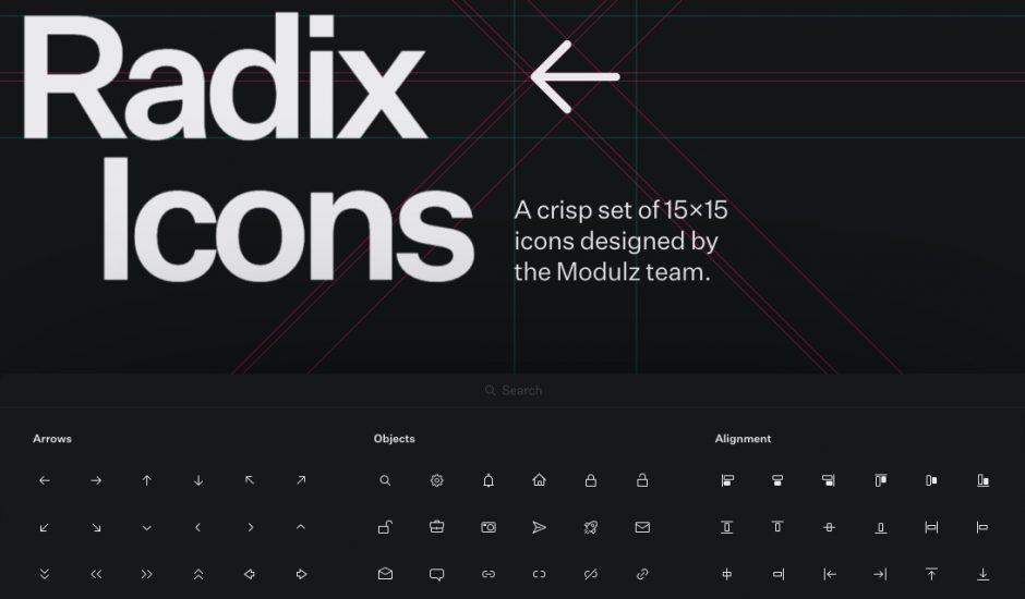 aperçu du site Radix Icons