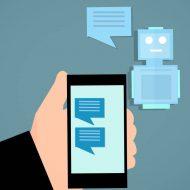 Un schéma représentant un bot postant des messages sur un smartphone.