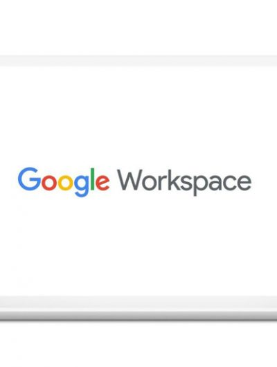 Le logo Google Workspace sur un ordinateur blanc.