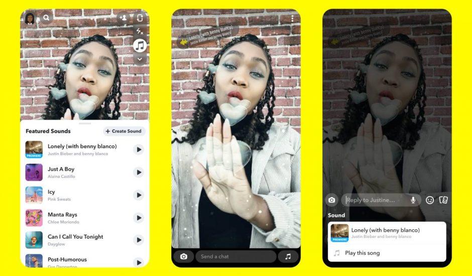 Des captures d'écran détaillant la fonctionnalité Sounds sur Snapchat