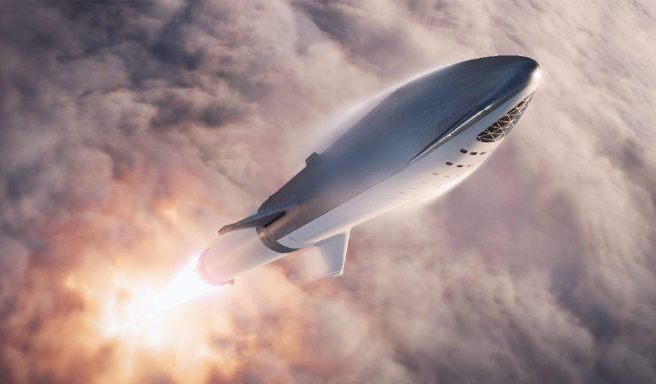 Représentation de la fusée Starship en plein lancement.